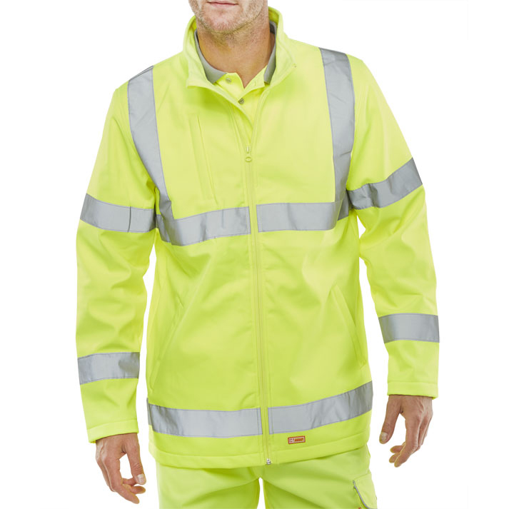Bseen High-Vis Soft Shell Jacket EN ISO 20471 Large Yellow Ref SS20471SYL *Up to 3 Day Leadtime*