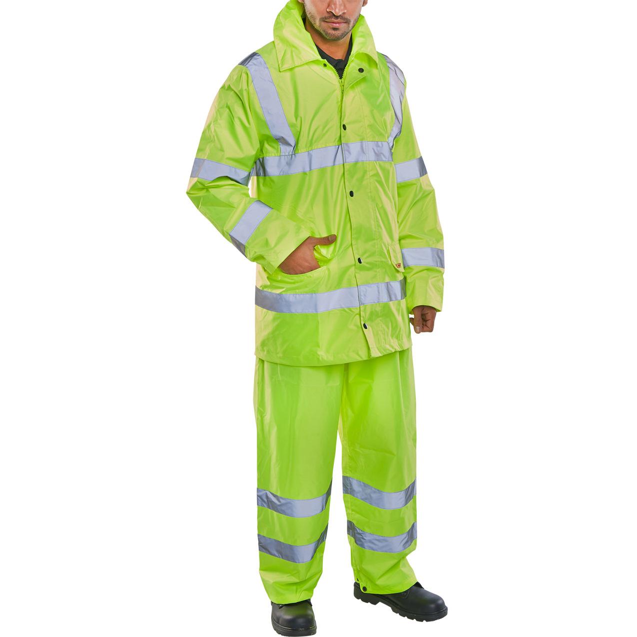 BSeen Hi-Vis L/Wt Suit Jkt/Trs EN ISO 20471 EN 343 Large Saturn Yellow Ref TS8SYL *Up to 3 Day Leadtime*