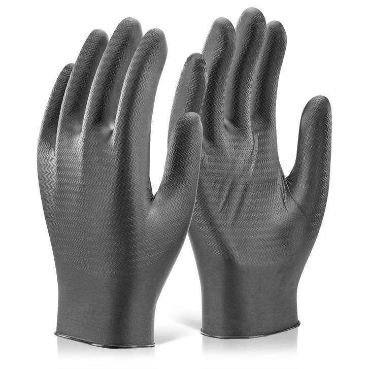 Glovezilla Nitrile Disposable Gripper Glove Black L Ref GZNDG10BLL Pack 1000 *Up to 3 Day Leadtime*