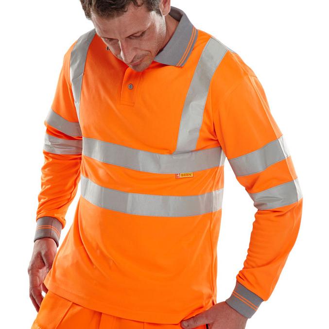 T-Shirts B-Seen Polo Long Sleeved Hi-Vis EN ISO20471 2XL Orange Ref BPKSLSENORXXL *Up to 3 Day Leadtime*