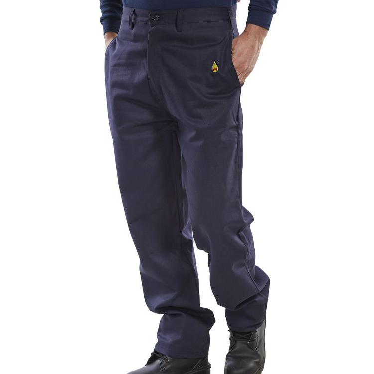 Fire Retardant / Flame Resistant Click Fire Retardant Trousers 300g Cotton 32 Navy Blue Ref CFRTN32 *Up to 3 Day Leadtime*