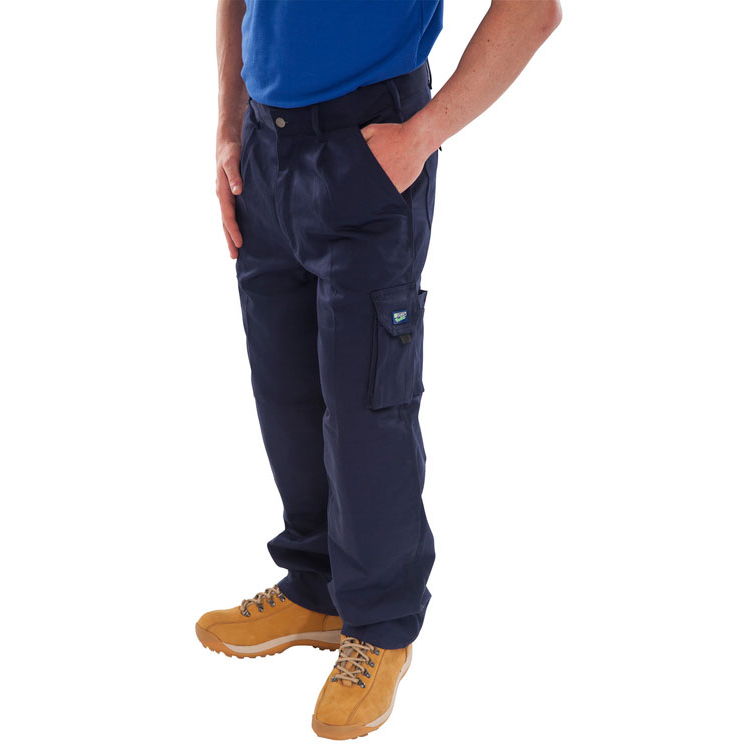 Body Protection Click Traders Newark Cargo Trousers 320gsm 32-Tall Navy Blue Ref CTRANTN32T *Up to 3 Day Leadtime*
