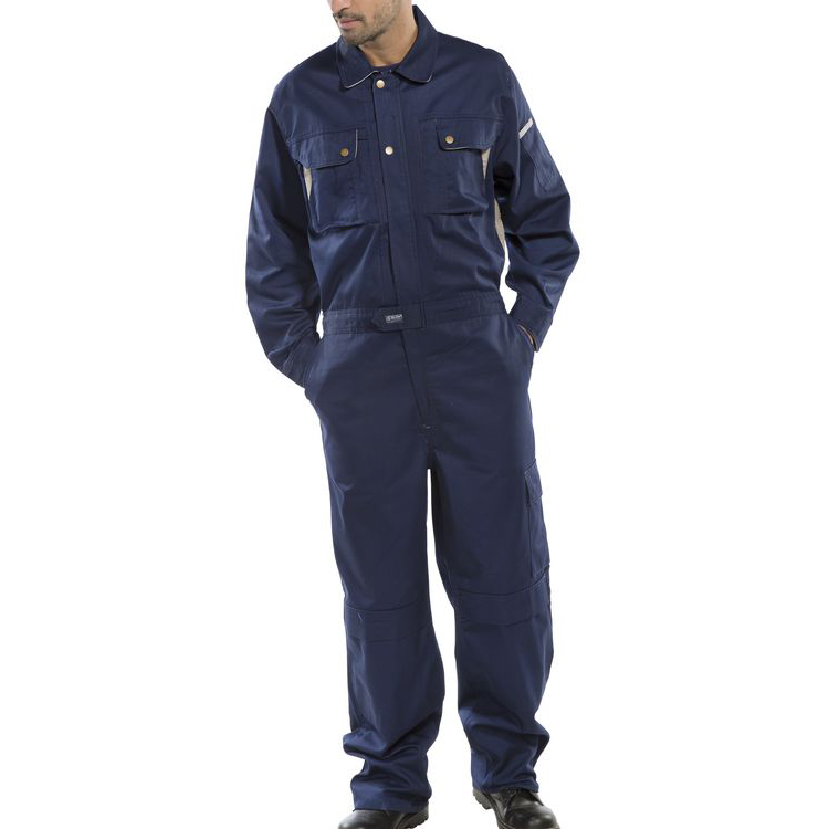Protective coveralls Click Premium Boilersuit 250gsm Polycotton Size 48 Navy Blue Ref CPCN48 *Up to 3 Day Leadtime*