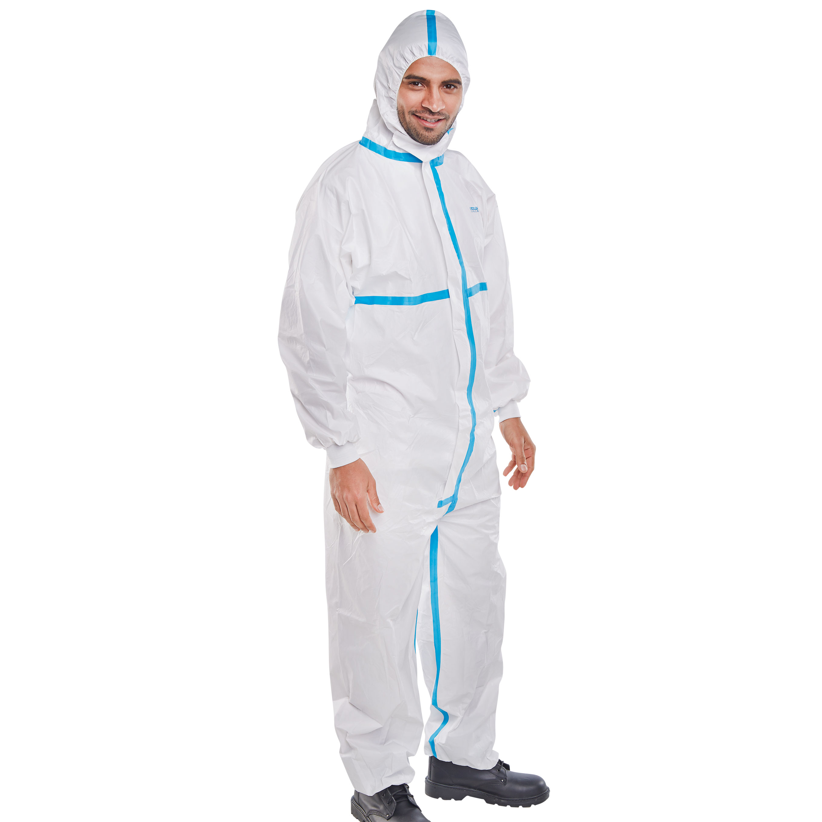 Extra Large Clothes Protect Disposable Coverall Front Zip Hooded Paint Home DIY