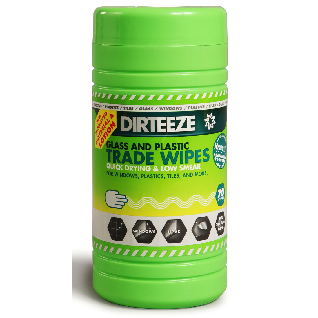 Multipurpose Cleaning Dirteeze Glass & Plastic Trade Wipes Dispenser Tub 200x250mm Ref DZGP80 [80 Wipes] *Up to 3 Day Leadtime*