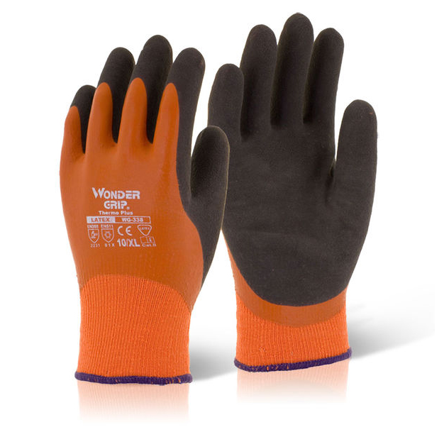 Hand Protection Wonder Grip Thermo Plus Glove Large Orange Pack 12 Ref WG338L *Up to 3 Day Leadtime*