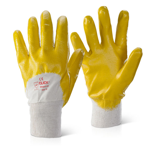 Limitless Click2000 Nitrile Knitwrist Palm Coated 8 Gloves Yellow Ref NKWPCLW8 Pack 100 *Up to 3 Day Leadtime*