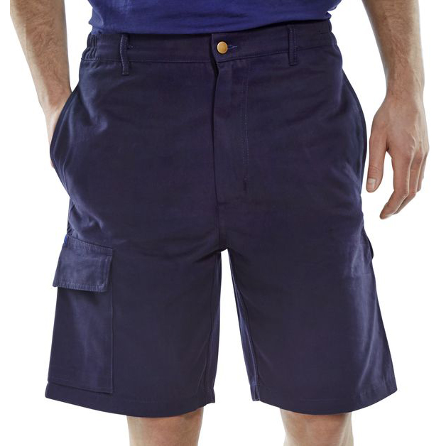 Click Workwear Shorts Cargo Pocket Size 30 Navy Blue Ref CLCPSN30 *Up to 3 Day Leadtime*