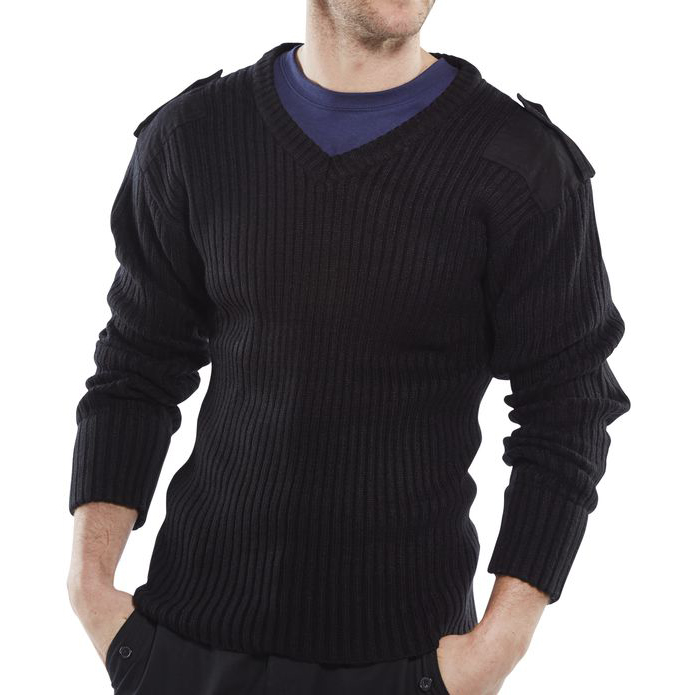 Click Workwear Sweater Military Style V-Neck Acrylic M Black Ref AMODVBLM *Up to 3 Day Leadtime*
