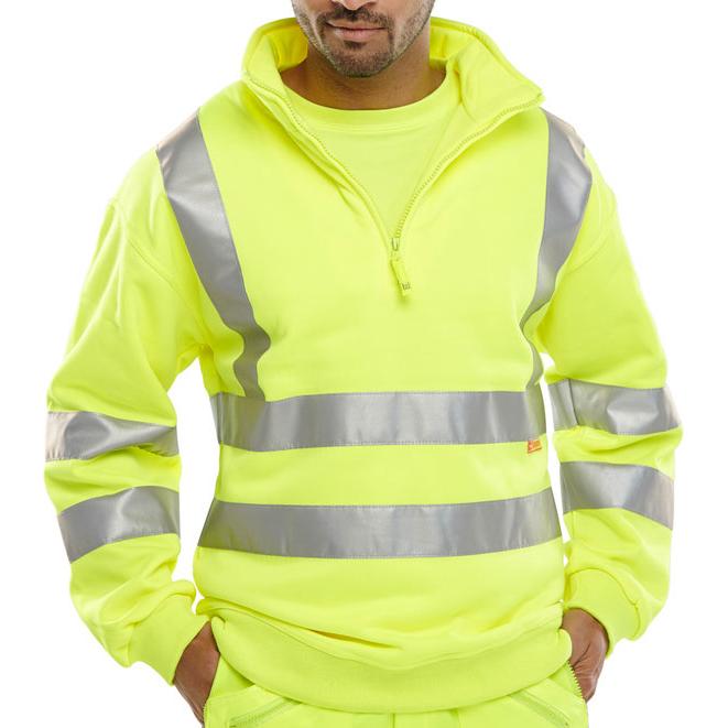 Sweatshirts / Jumpers / Hoodies B-Seen Sweatshirt Quarter Zip Hi-Vis 280gsm 3XL Saturn Yellow Ref BSZSSENSYXXXL *Up to 3 Day Leadtime*