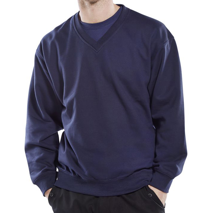 Sweatshirts / Jumpers / Hoodies Click Workwear Sweatshirt V-Neck Polycotton 300gsm S Navy Blue Ref CLVPCSNS *Up to 3 Day Leadtime*