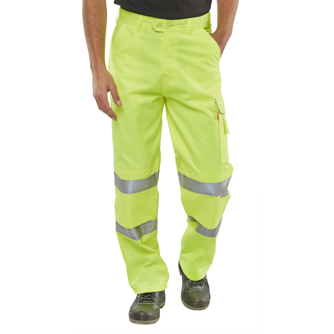 BSeen Trousers Polycotton Hi-Vis EN471 Saturn Yellow 34 Ref PCTENSY34 *Up to 3 Day Leadtime*