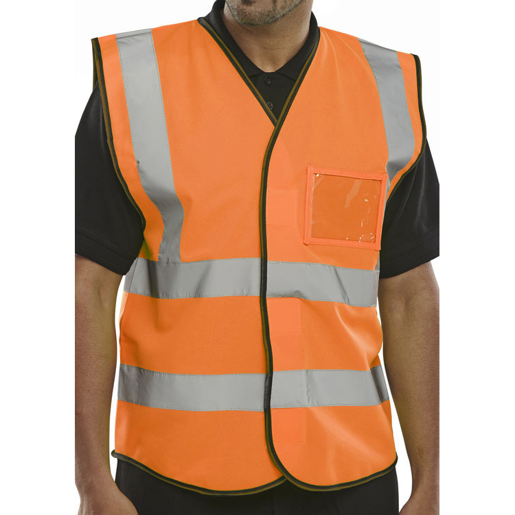 B-Seen High Visibility Waistcoat ID Small Orange Ref BD108ORS Pack 10 *Up to 3 Day Leadtime*