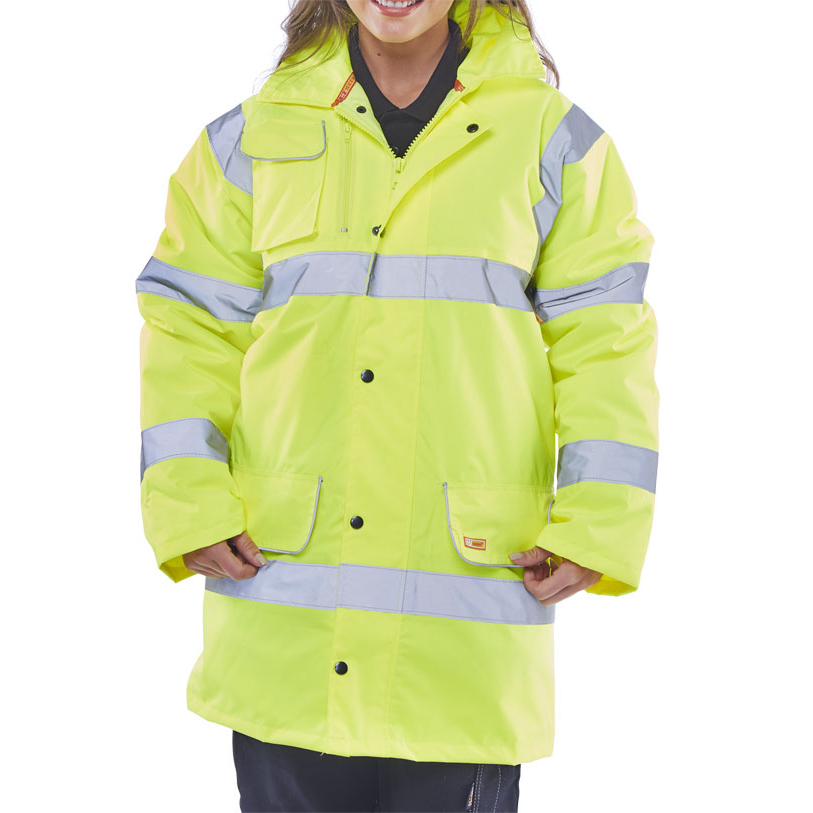 BSeen High Visibility Fleece Lined Traffic Jacket 4XL Saturn Yellow Ref CTJFLSY4XL *Up to 3 Day Leadtime*