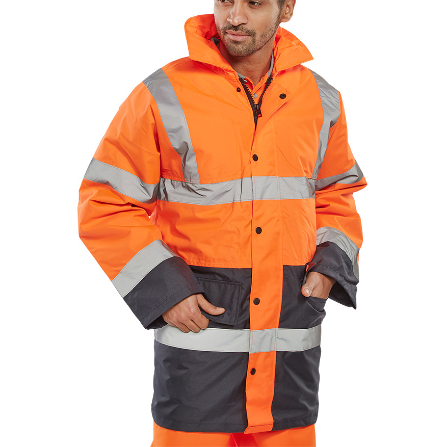 BSeen Hi-Vis Heavyweight Two Tone Traffic Jacket S Orange/Navy Ref TJSTTENGORNS *Up to 3 Day Leadtime*