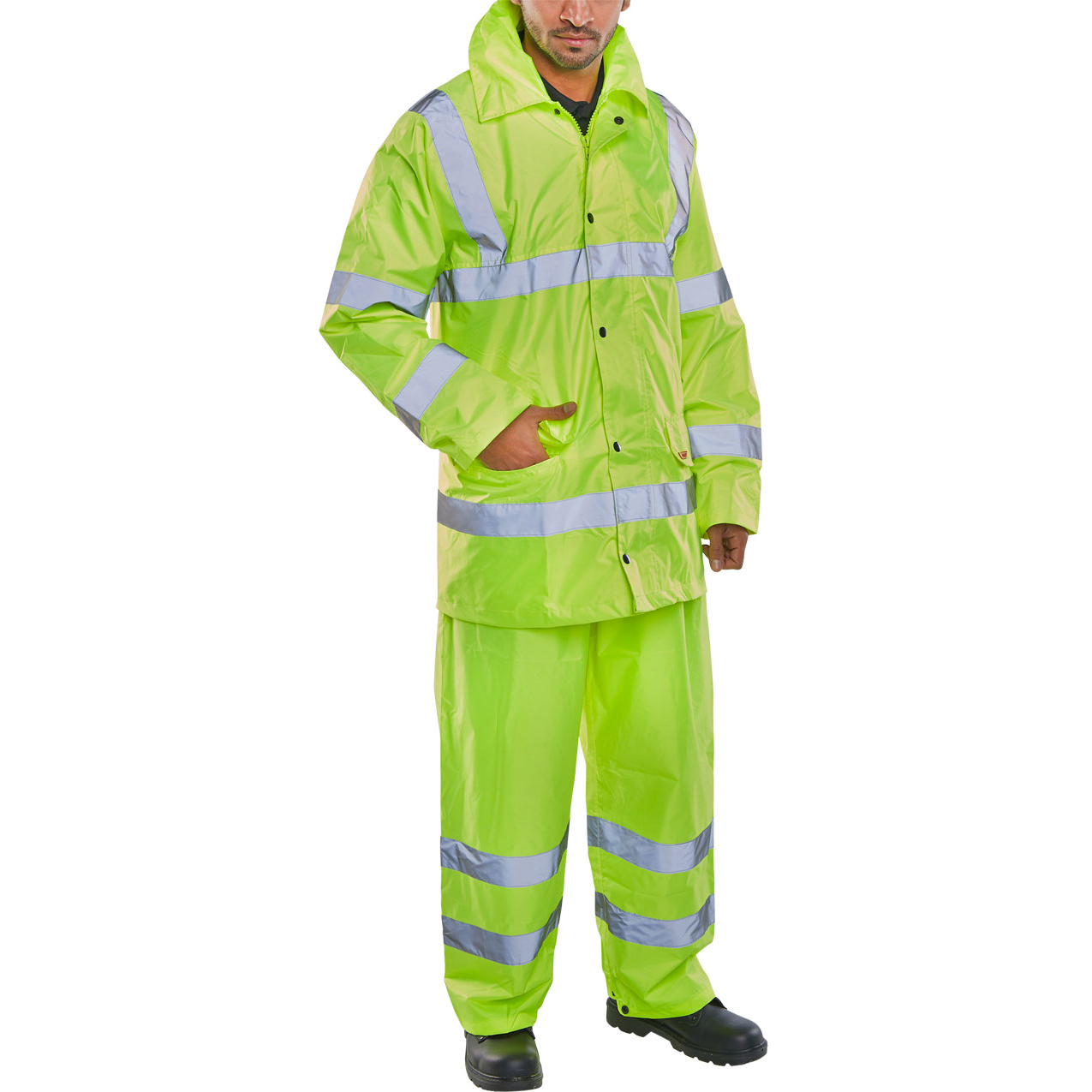 BSeen Hi-Vis L/Wt Suit Jkt/Trs EN ISO 20471 EN 343 Small Saturn Yellow Ref TS8SYS *Up to 3 Day Leadtime*