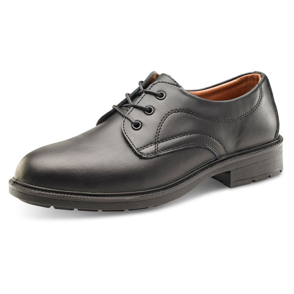 Click Footwear Managers Shoe S1 Leather Upper Steel Toecap 10 Black Ref SW201010 *Up to 3 Day Leadtime*