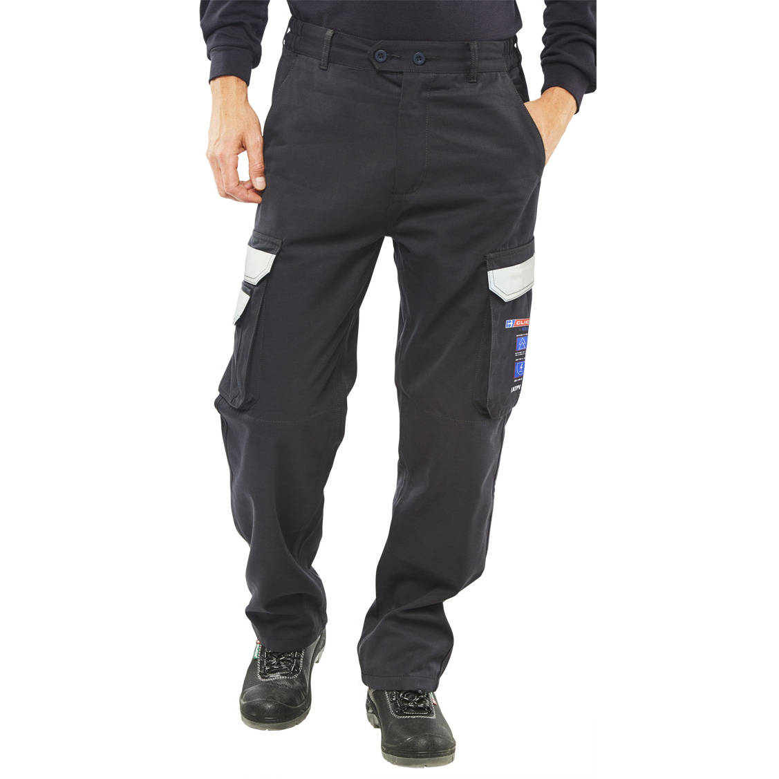 Fire Retardant / Flame Resistant Click Arc Flash Trousers Fire Retardant Navy Blue 44-Tall Ref CARC4N44T *Up to 3 Day Leadtime*
