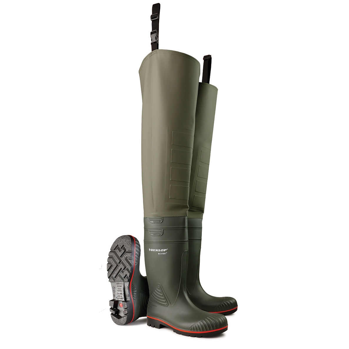 Dunlop Acifort Safety Thigh Wader Size 7 Green Ref A442631.TW07 *Up to 3 Day Leadtime*