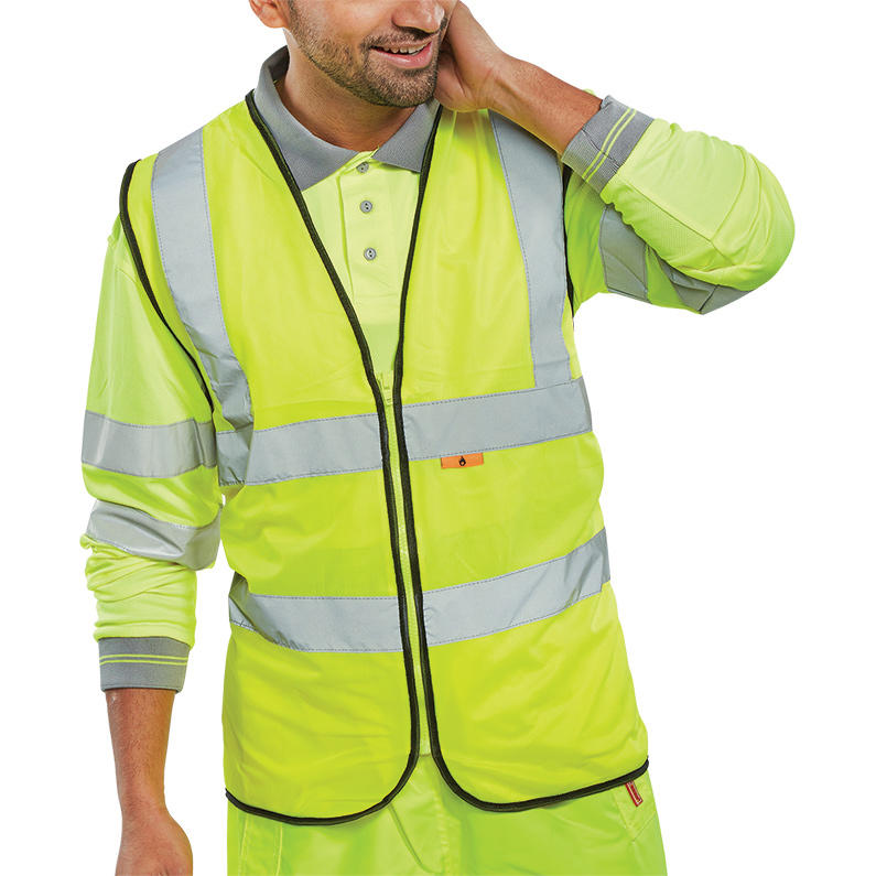 Bodywarmers Click Fire Retardant Hi-Vis Waistcoat Polyester Large Saturn Yellow Ref CFRWCSYL *Up to 3 Day Leadtime*