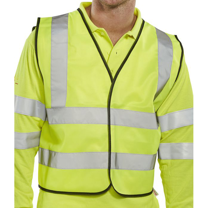 BSeen High Visibility Short Waistcoat APP G Polyester Large Sat Yellow Ref WCENGSHL *Upto 3 Day Leadtime*