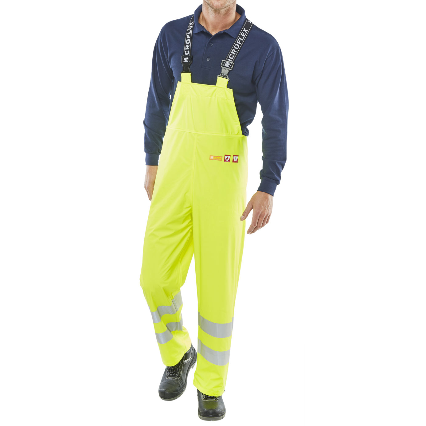 Click Fire Retardant Bib & Brace Hi-Vis 4XL Sat Yellow Ref CFRLR59SYXXXXL *Up to 3 Day Leadtime*