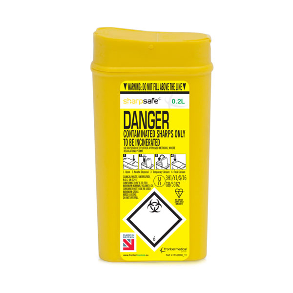 Limitless Click Medical Sharps Bin Puncture Resistant Base 0.2L Yellow Ref CM0641 *Up to 3 Day Leadtime*