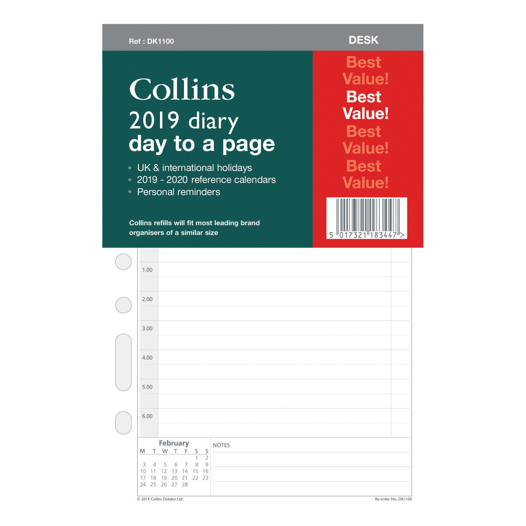 Collins 2019 Desk Organiser Diary Refill Day to Page 140x216mm White Ref DK1100-19