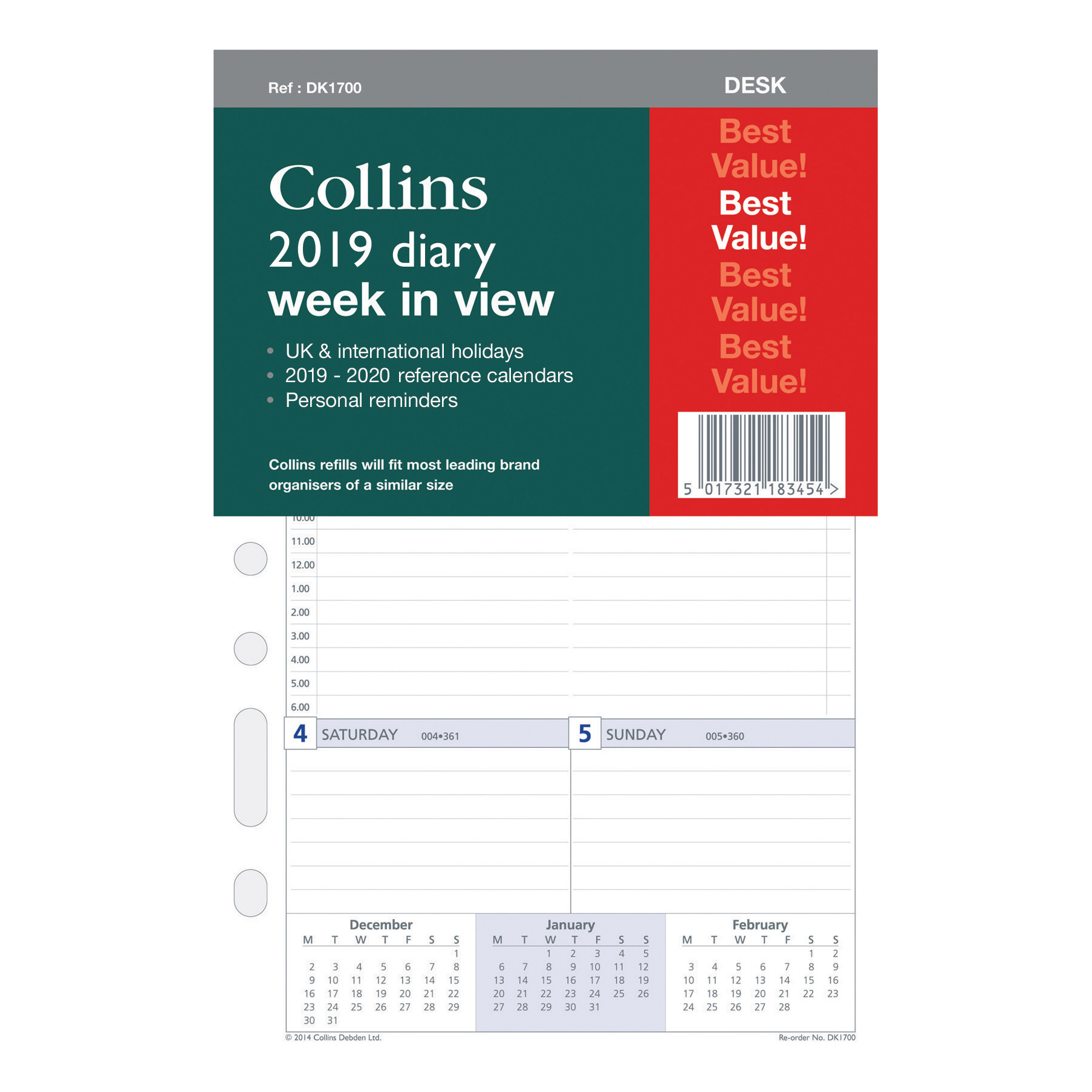 Collins 2019 Desk Wk to View Org Refill