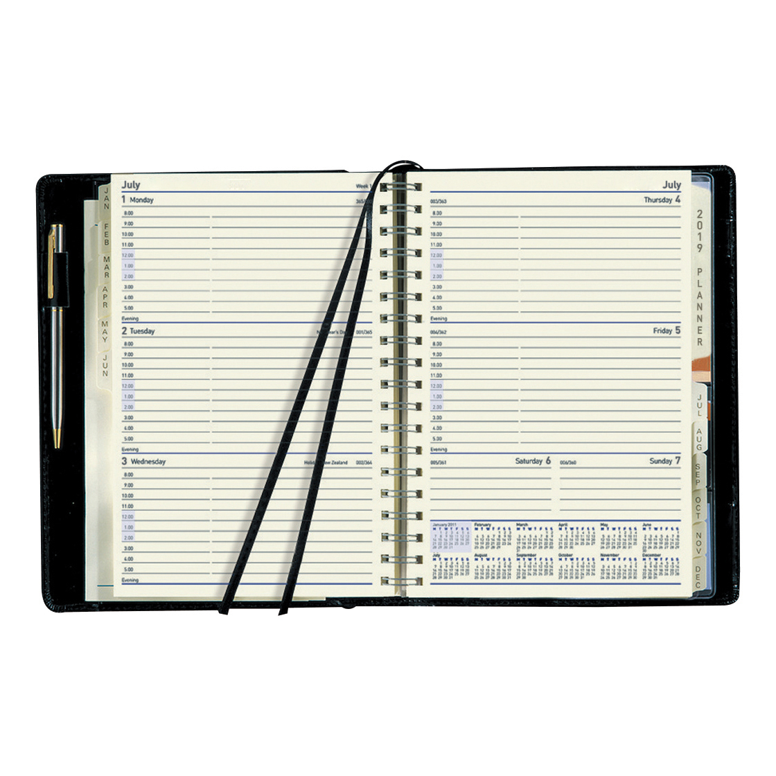 Collins 2019 Elite Compact Diary Week to View Wirobound Faux Leather Cover 127x190mm Black Ref 1150V 2019