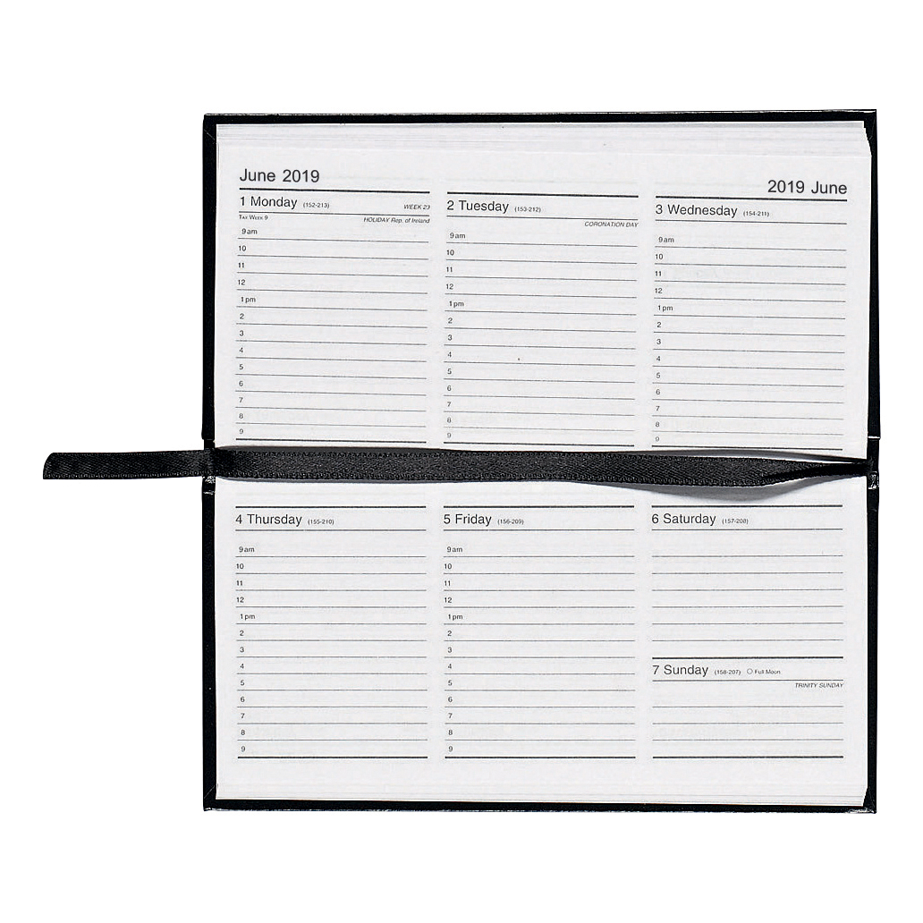 5 Star Office 2019 Slim Landscape Pocket Diary Week to View Casebound Sewn 160x80mm Black