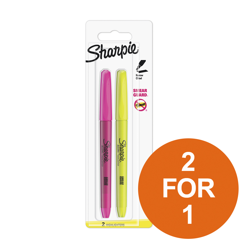 Sharpie Accent Pocket Highlighters Chisel Assorted Fluorescent Ref S0907190 [Pack 2][2 for 1]Oct-Dec 2019