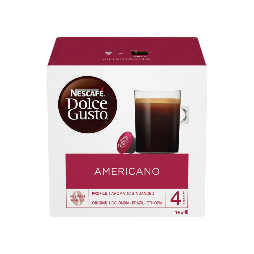 Coffee Nescafe Americano Capsules for Dolce Gusto Machine Ref 12117294 Pack 48 (3x16 Capsules=48 Drinks)
