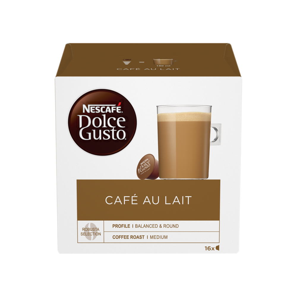 Nescafe Cafe Au Lait Capsules for Dolce Gusto Machine Ref 12235939 Pack 48 (3x16 Capsules=48 Drinks)