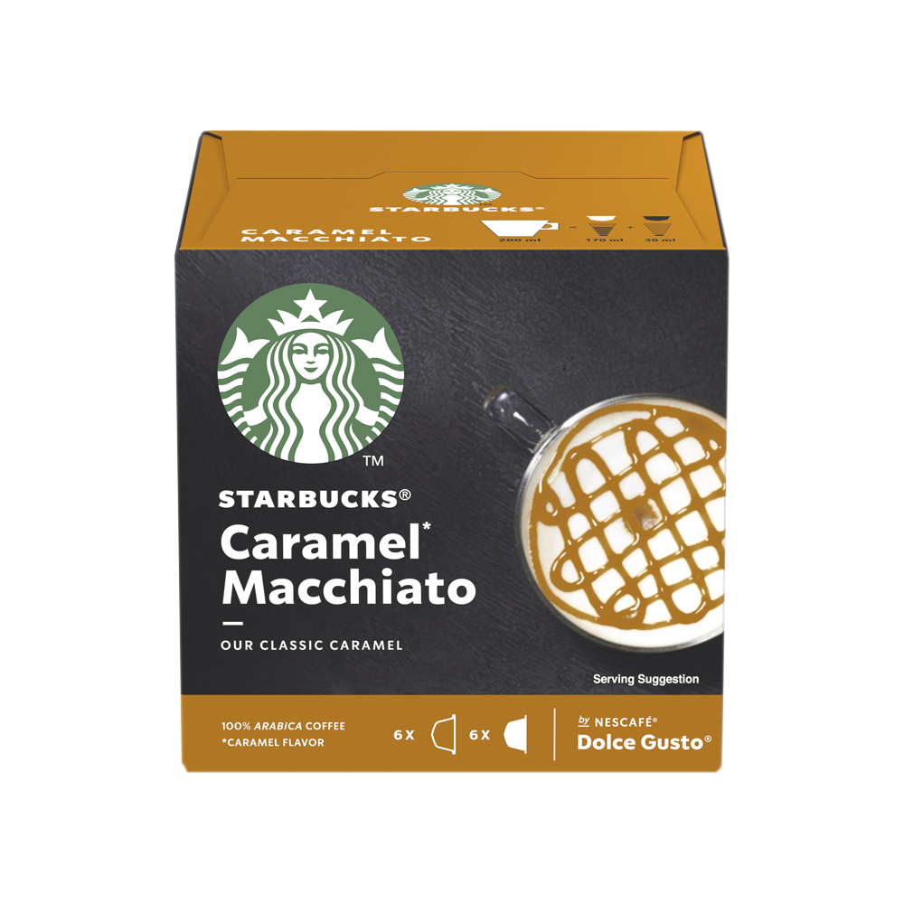 STARBUCKS Caramel Macchiato Capsules for Dolce Gusto Machine 12397694 Pack 36 (3x12 Capsule=18 Drinks)
