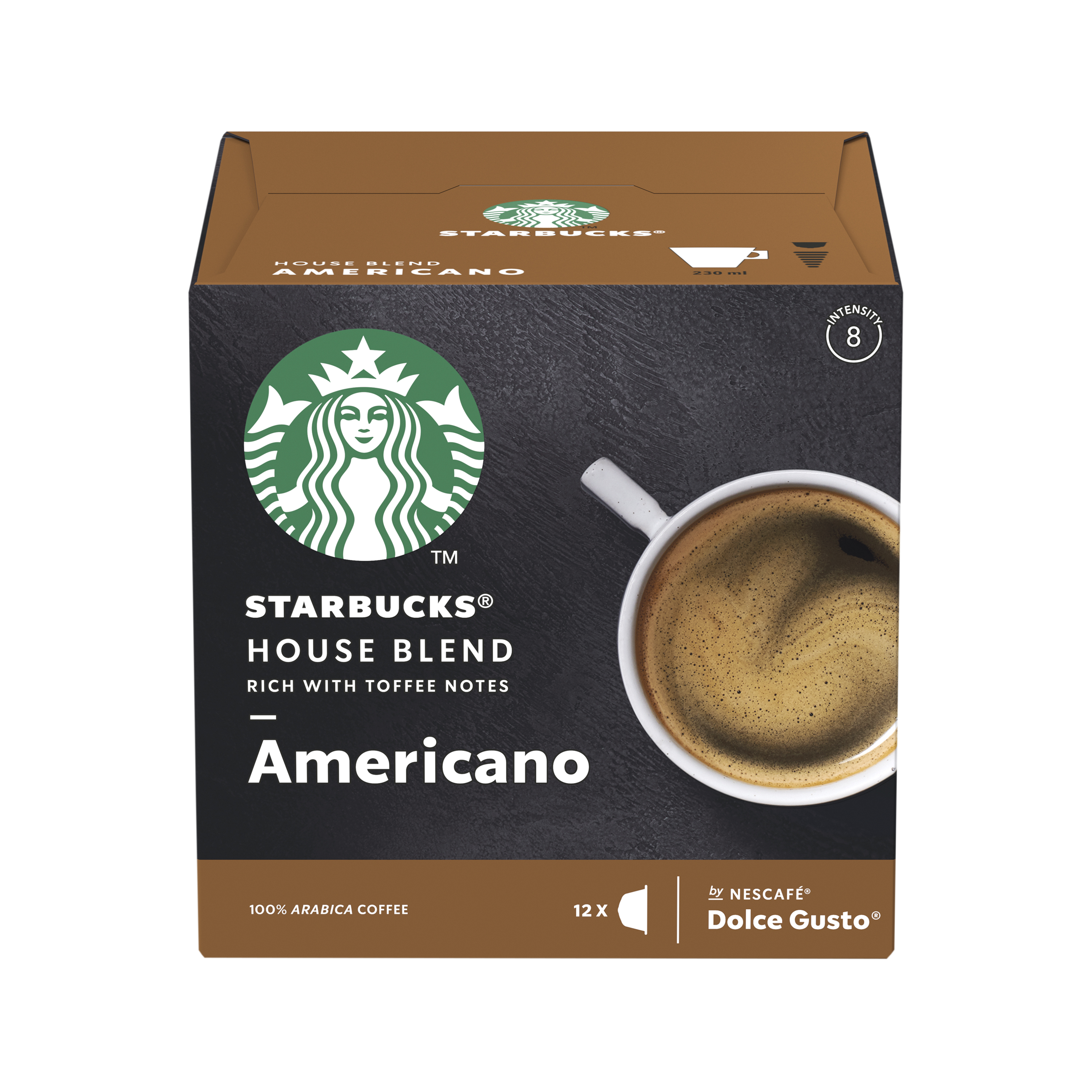 Coffee STARBUCK Americano Med Roast Capsules for Dolce Gusto Machine 12397697 Pack 36 (3x12 Capsule=36 Drinks)