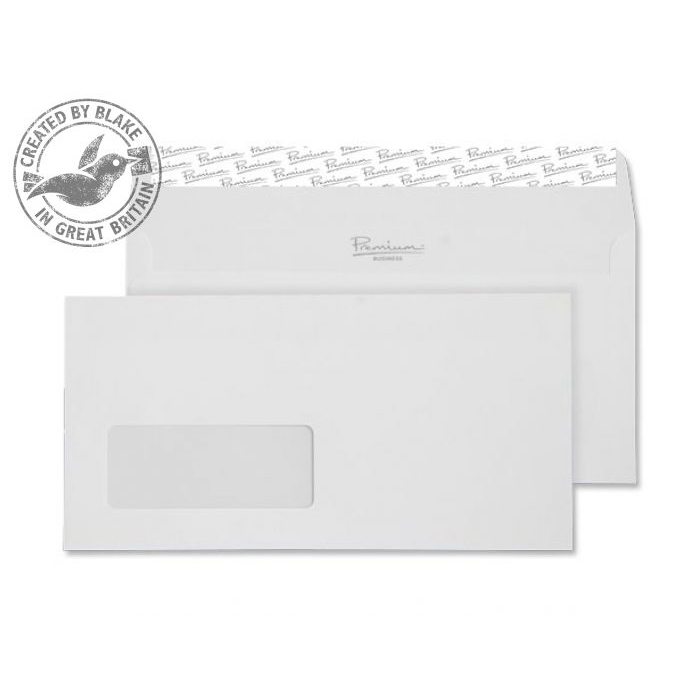 Blake Premium Business Envelopes Wallet Peel and Seal Window 120gsm DL High White Ref 35884 [Pack 500]