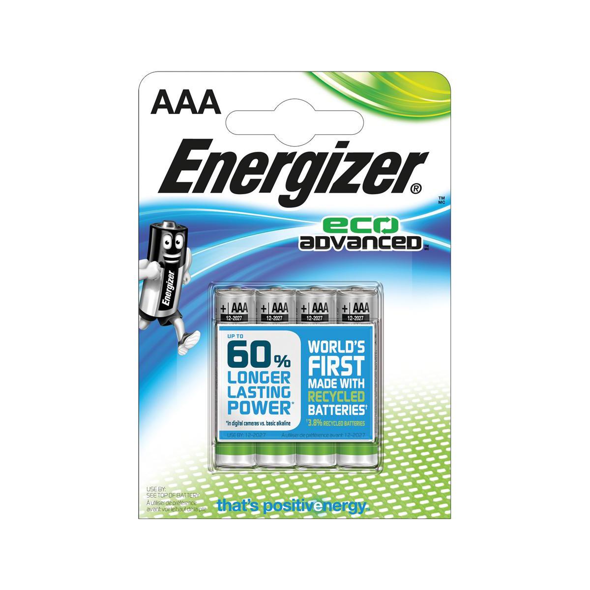 Energizer Eco Advance Batteries AAA / E92 Ref E300128100 [Pack 4]