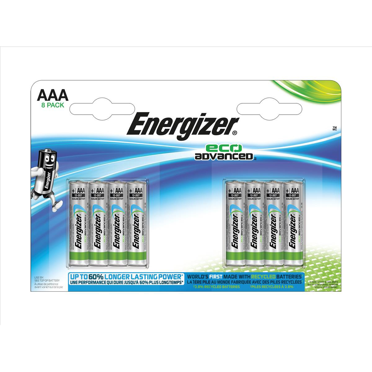 Energizer Eco Advance Batteries AAA / E92 Ref E300116300 Pack 8