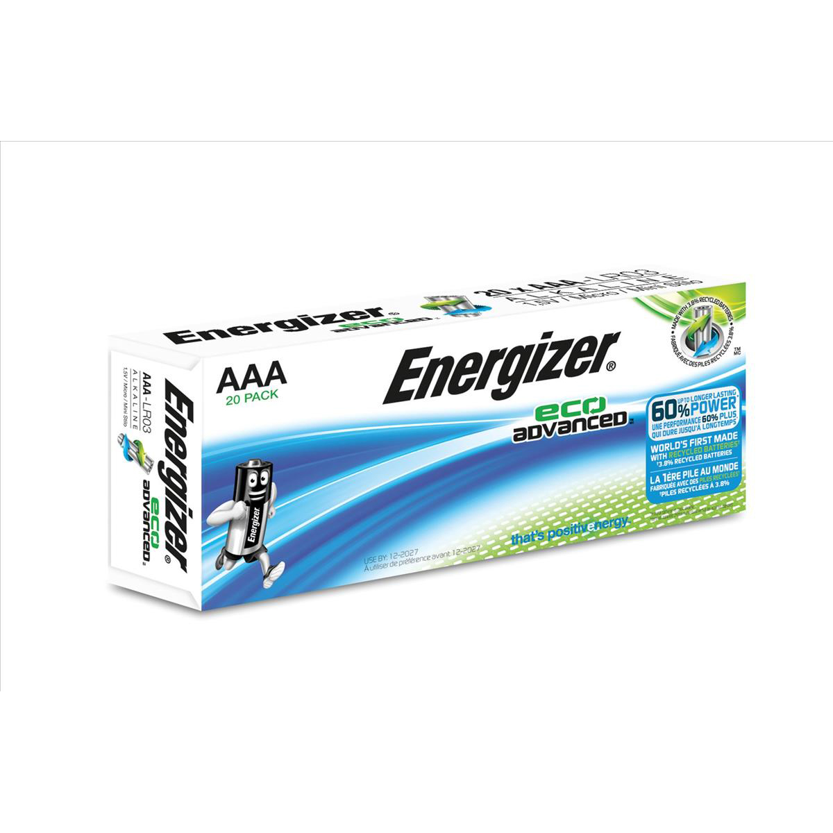 Energizer Eco Advance Batteries AAA / E92 Ref E300488000 Pack 20