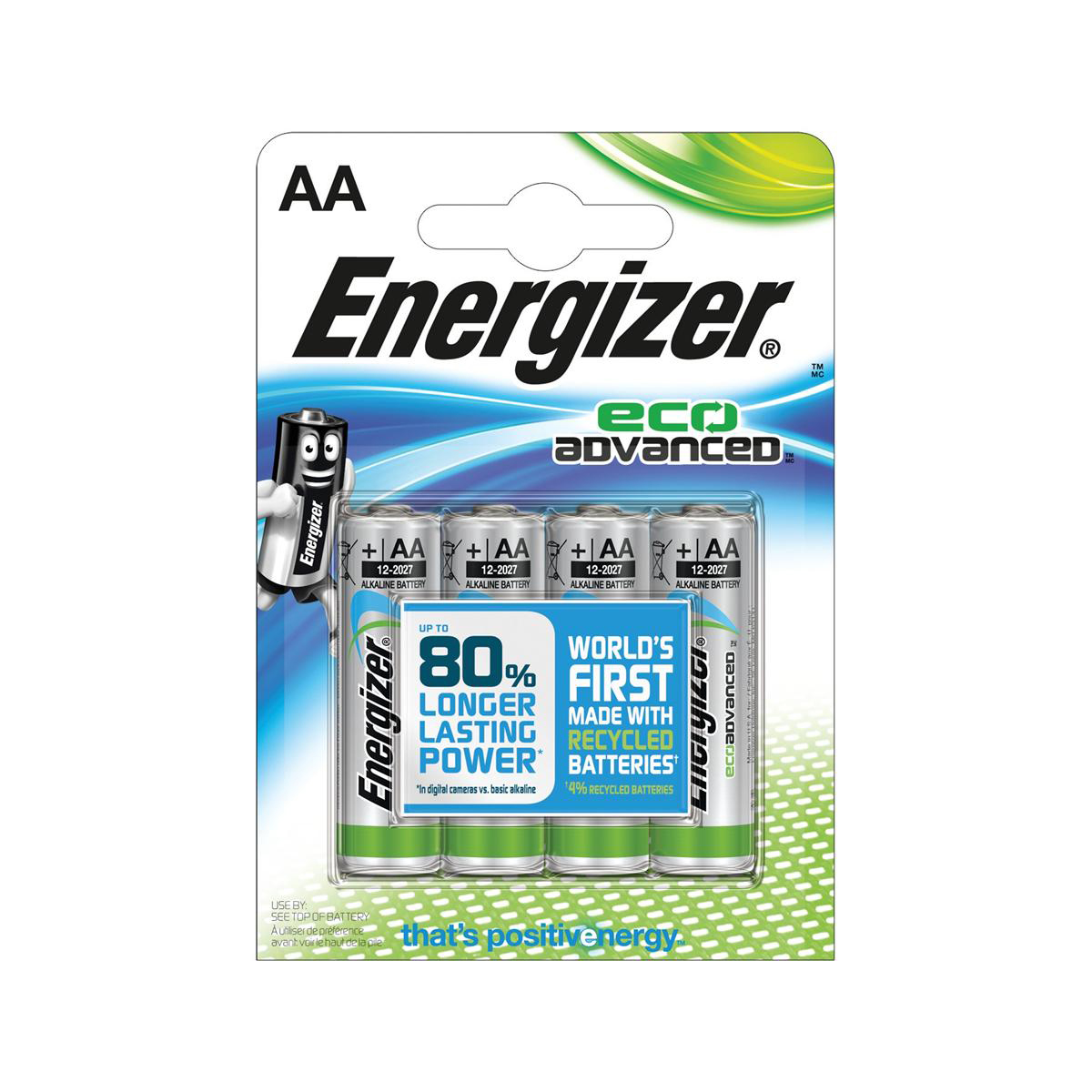 Energizer Eco Advance Batteries AA / E91 Ref E300130700 [Pack 4]