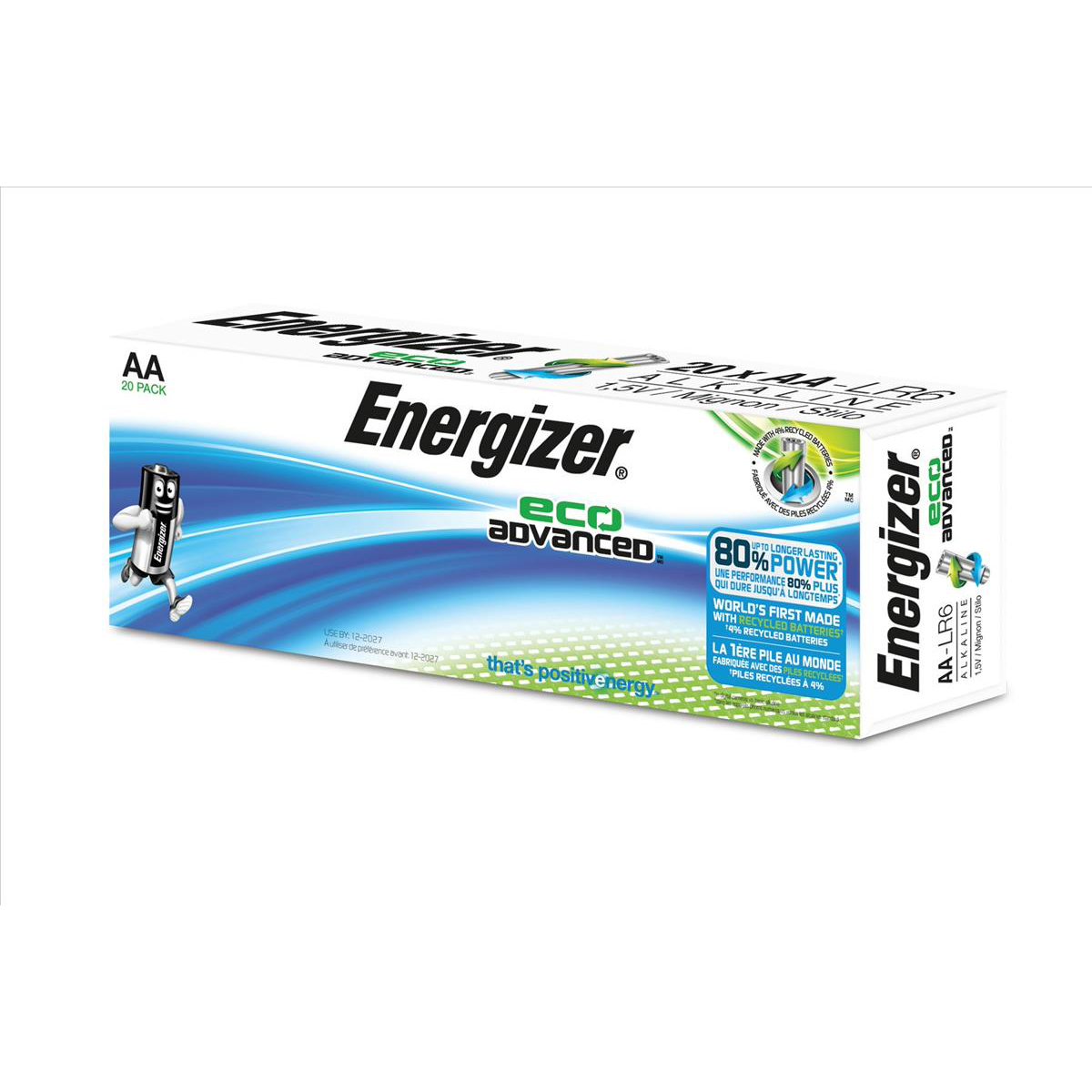 Energizer Eco Advance Batteries AA / E91 Ref E300487800 Pack 20