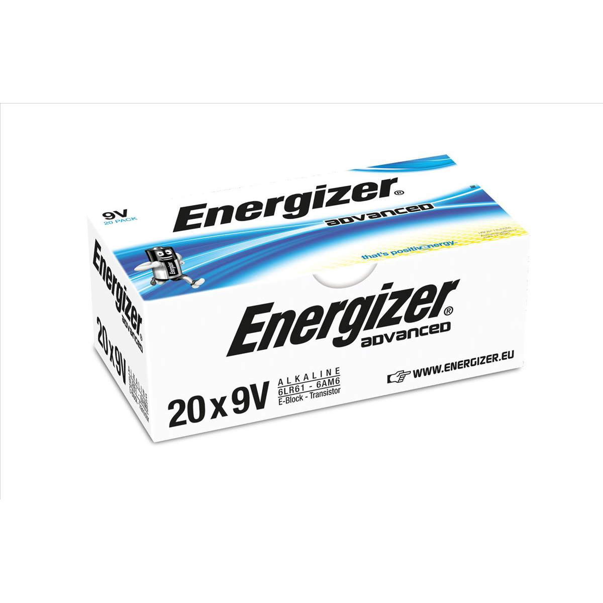 Energizer Eco Advanced Batteries 9V / 522 Ref E300488300 Pack 20