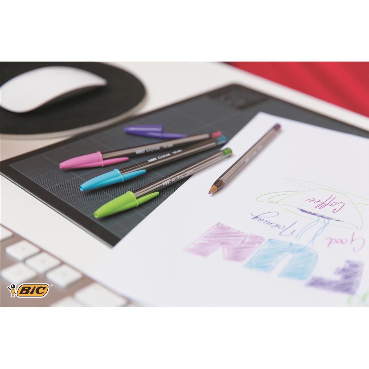 Bic Cristal Fun Ball Pen Large 1.6mm Tip 0.42mm Line Purple Ref 929055 Pack 20