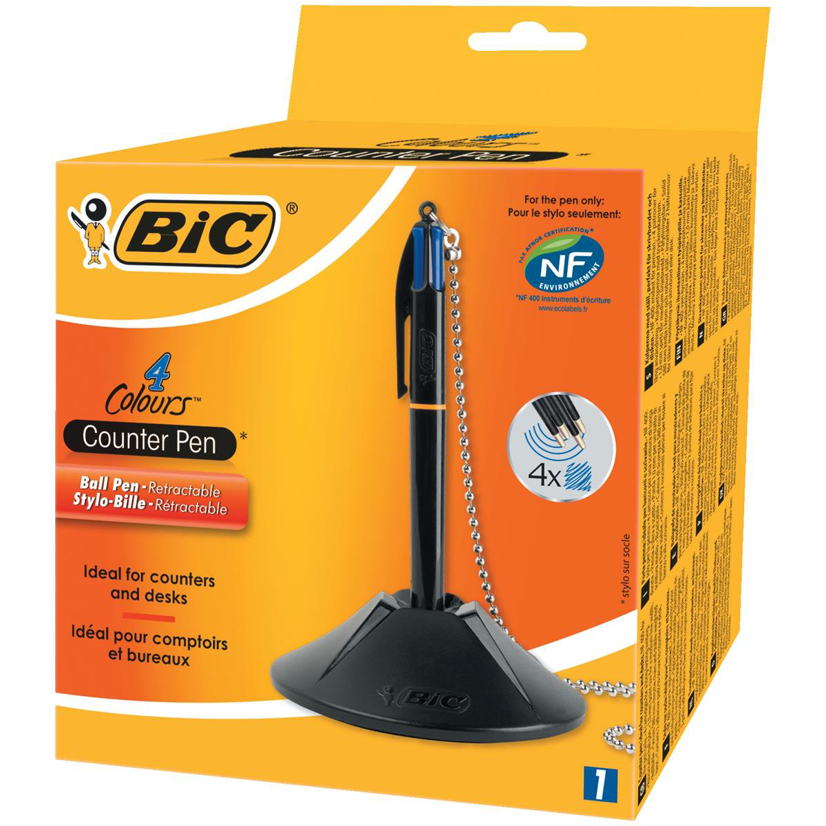 Ball point pens Bic 4 Colour Way Counter Pen Refillable Retractable Medium 1.0mm Tip 0.32mm Line Blue Ref 918515