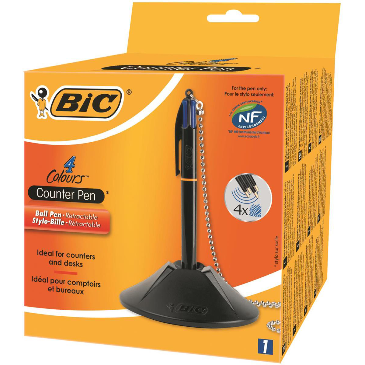 Bic 4 Colour Way Counter Pen Refillable Retractable Medium 1.0mm Tip 0.32mm Line Blue Ref 918515