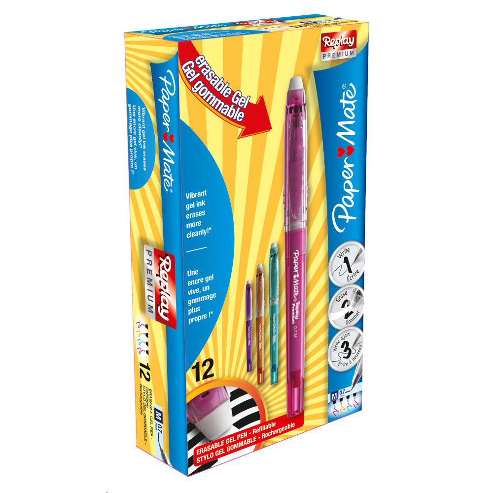 Paper Mate Replay Premium Erasable Gel Assorted  Ref 1901326 [Pack 12]
