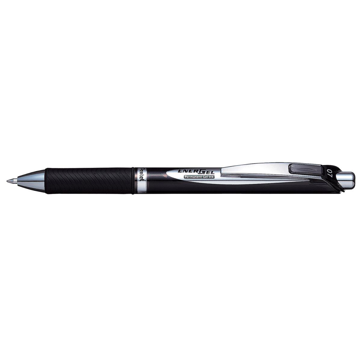 Pentel EnerGel Permanent Rollerball 0.7mm Tip 0.35mm Line Retractable Black Ref BLP77-AX Pack 12