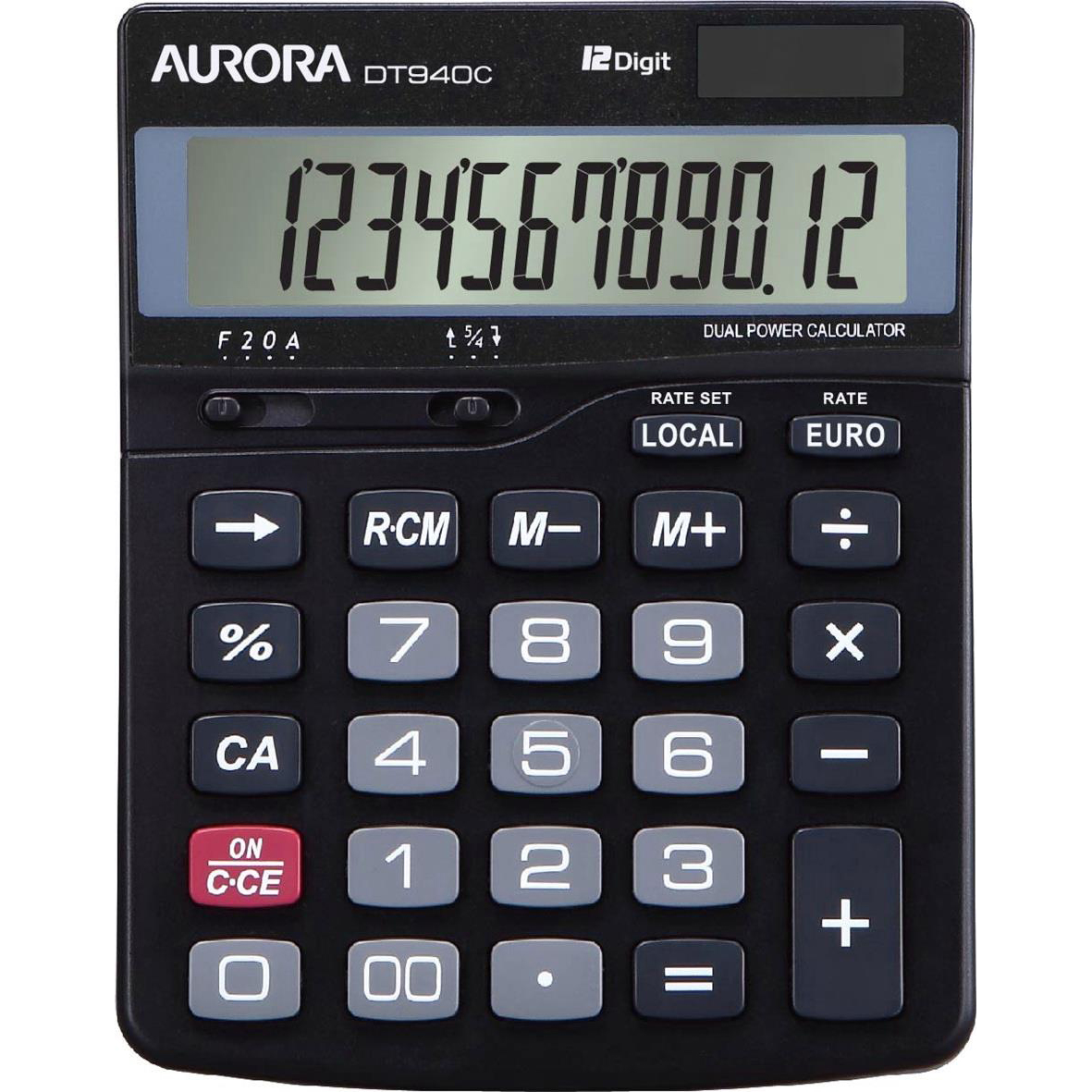 Calculators Aurora Semi-desk Calculator 12 Digit 3 Key Memory Battery/Solar Power 115x33x145mm Black Ref DT940C