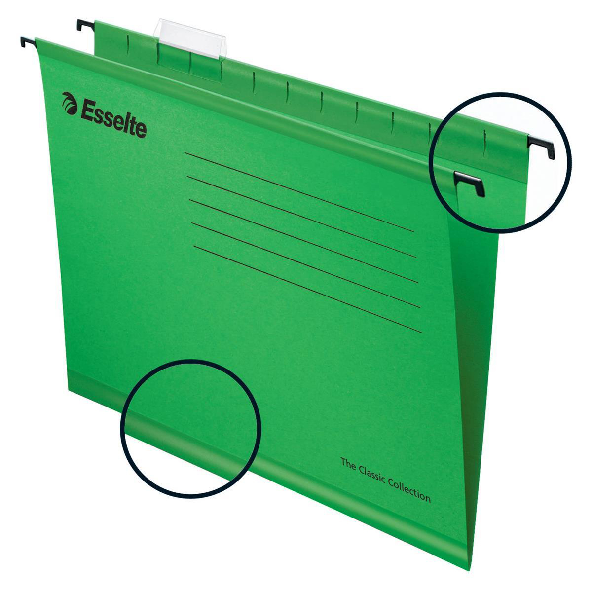 Esselte Classic Reinforced Suspension File Manilla 15mm V-base 210gsm Foolscap Green Ref 90337 Pack 25